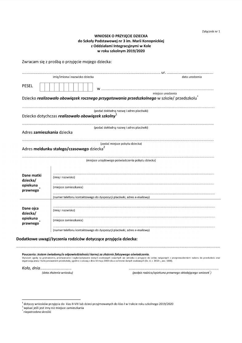 Wzór Wniosku O Przyjęcie Do Klasy I Szkoła Podstawowa Nr 3 W Kole